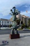 Skulpturen av spåman på den marin- fyrkanten i Alicante Arkivbild