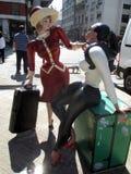 Skulpturen för `-Chicas Divito ` i San Telmo Celebrity flickor som dras av Guillermo Divito San Telmo Buenos Aires Argentina Royaltyfri Bild