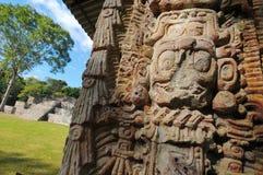 Skulpturen im archäologischen Park in den Copan ruinas lizenzfreies stockbild