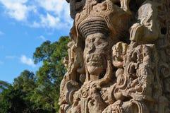 Skulpturen im archäologischen Park in den Copan ruinas Stockfotografie
