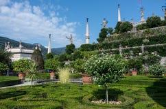 Skulpturen Isola Bella im Garten des Borromeo-Palastes, Lombardei, Italien, Lago Maggiore lizenzfreies stockfoto