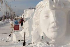 Skulpturen vom Schnee Stockfotos