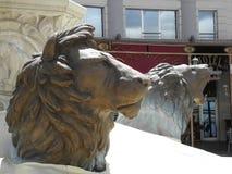 Skulpturen von Löwen in Skopje, N Mazedonien stockbilder