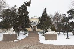 Skulpturer av lejon på ingången till det Pushkin arkivet i th Royaltyfri Foto