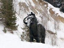 Skulpturer av mammoths i Archeopark, Khanty - Mansiysk, Ryssland lokaliserade på foten av den is- kullen, Archeopark visar naturt Arkivfoto