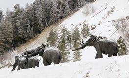 Skulpturer av mammoths i Archeopark, Khanty - Mansiysk, Ryssland lokaliserade på foten av den is- kullen, Archeopark visar naturt Royaltyfria Bilder