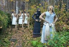 Skulpturer i Parikkala skulptur parkerar, Finland royaltyfria bilder