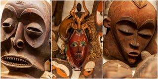 Skulpturer målningar Kenya, afrikanmaskeringar, maskeringar för ceremonier Arkivfoto