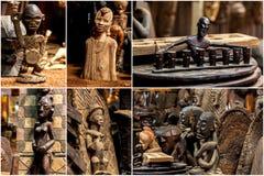 Skulpturer målningar Kenya, afrikanmaskeringar, maskeringar för ceremonier Royaltyfri Foto