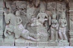 Skulpturer träskulpturer, härligt forntida land av Thailand Arkivbilder