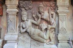 Skulpturer träskulpturer, härligt forntida land av Thailand Fotografering för Bildbyråer