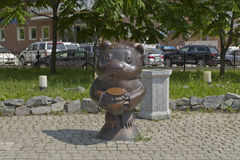 Skulpturtecknad filmteckenen Winnie the Pooh Arkivfoto