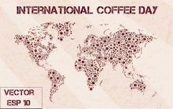 Skum för tryckvärldskartakaffe royaltyfri illustrationer