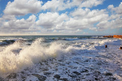 skumhavet skiner sunen Royaltyfria Bilder