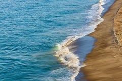 Skumma vågen som bryter på sandig shoreline med flocken av seagulls royaltyfria foton