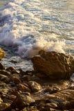 Skumma vågen som bryter på soluppgång med färgreflexion royaltyfria bilder