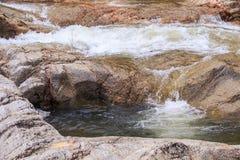Skummande strömmar för Closeup bland bruna stenar Arkivfoton
