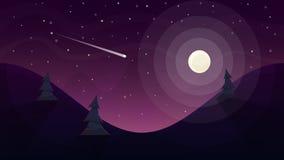 skuner krajobrazu światło księżyca Gwiazda i góra Obrazy Stock