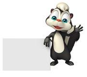 Skunk cartoon character with display board Stock Photos