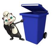 Skunk cartoon character with dustbin Stock Image