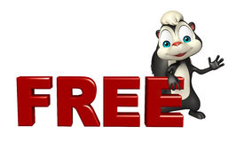 Skunk cartoon character with free sign Stock Photos