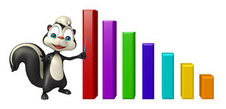Skunk cartoon character with graph Stock Photo