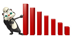 Skunk cartoon character with graph Stock Image