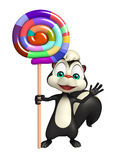 Skunk cartoon character with lollypop Royalty Free Stock Photo