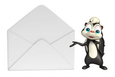 Skunk cartoon character with mail Royalty Free Stock Photo