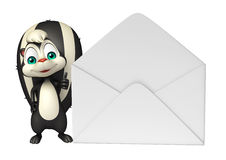 Skunk cartoon character with mail Stock Image
