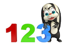 Skunk cartoon character with 123 sign. 3d rendered illustration of Skunk cartoon character with 123 sign stock illustration