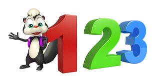 Skunk cartoon character with 123 sign and school bag. 3d rendered illustration of Skunk cartoon character with 123 sign and school bag stock illustration