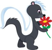 Skunk Flower. A cute little skunk holding a red flower. He's sniffing it and is smiling sweetly