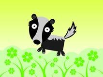 Skunk in a flower field Stock Image