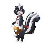 Skunk with gun, cowboy animal character Stock Photography