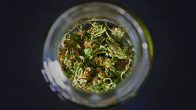 Skunk Marijuana drying in a Curing Jar Stock Photos
