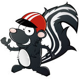 Skunk in racing helmet. Cartoon illustration of smiling skunk in red racing helmet, isolated on white background Royalty Free Stock Photo