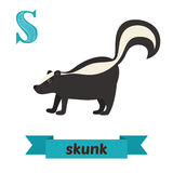 Skunk. S letter. Cute children animal alphabet in vector. Funny Royalty Free Stock Photos