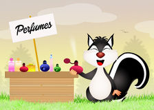 Skunk sells perfumes Royalty Free Stock Image