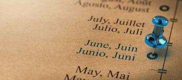 Skupia się na Czerwu, miesiące roku kalendarz Fotografia Royalty Free