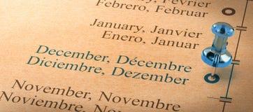 Skupia się na Grudniu, miesiące roku kalendarz Fotografia Royalty Free
