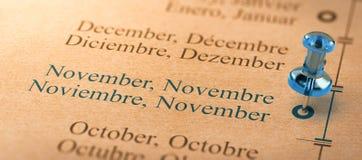 Skupia się na Listopadzie, miesiące roku kalendarz Zdjęcie Royalty Free