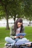 Skupiający się brunetka uczeń używa pastylki obsiadanie na ławce Zdjęcie Royalty Free
