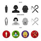 Skurk och slaga, en guld- maskering, en egyptier, en mamma i en gravvalv Symboler för forntida Egypten uppsättningsamling i svart royaltyfri illustrationer