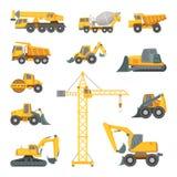 Skurkrollkonstruktion bearbetar med maskin Grävskopa, bulldozer och annan teknik Vektorillustrationer i tecknad filmstil vektor illustrationer