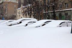 Snowfall i Moscow Arkivbilder