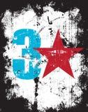 skutka grunge liczba plus czerwieni gwiazda trzy Fotografia Stock