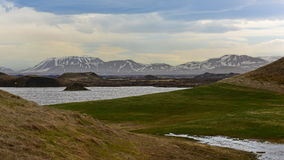 Skutustadagigar pseudo kratery w Iceland Obraz Stock