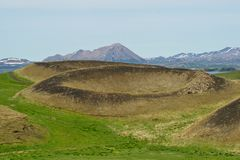 Skutustadagigar pseudo volcanos Royalty Free Stock Image