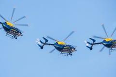 Skvadron för polishelikopter Royaltyfria Bilder